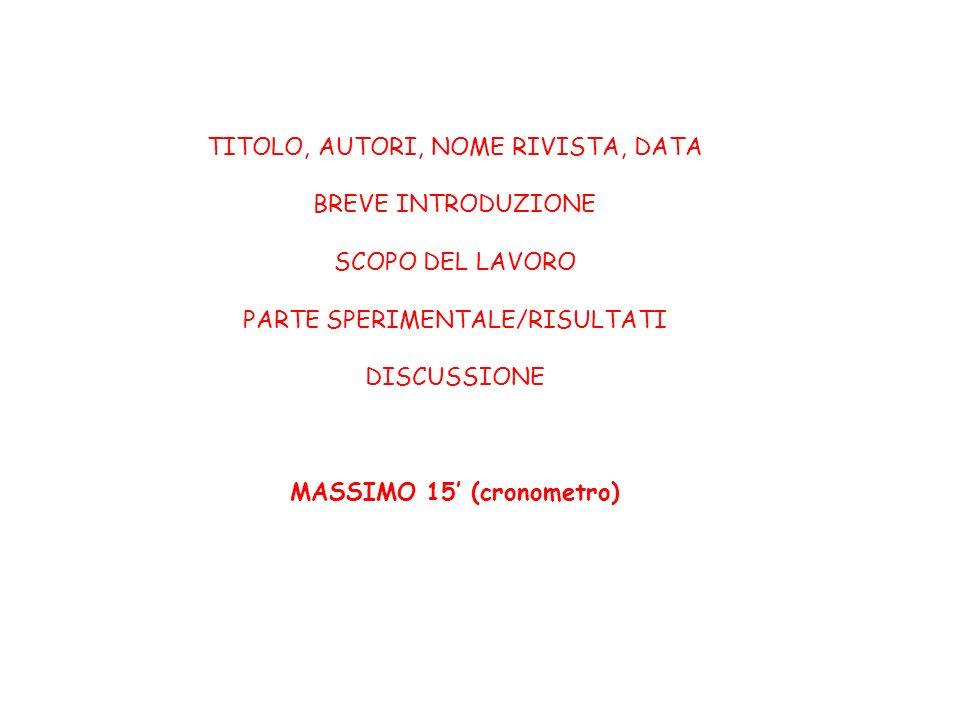 TITOLO, AUTORI, NOME RIVISTA, DATA BREVE INTRODUZIONE SCOPO DEL LAVORO PARTE SPERIMENTALE/RISULTATI DISCUSSIONE MASSIMO 15 (cronometro)