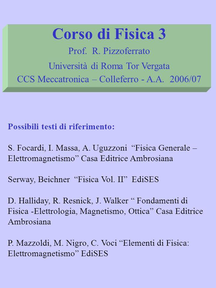 Possibili testi di riferimento: S. Focardi, I. Massa, A. Uguzzoni Fisica Generale – Elettromagnetismo Casa Editrice Ambrosiana Serway, Beichner Fisica