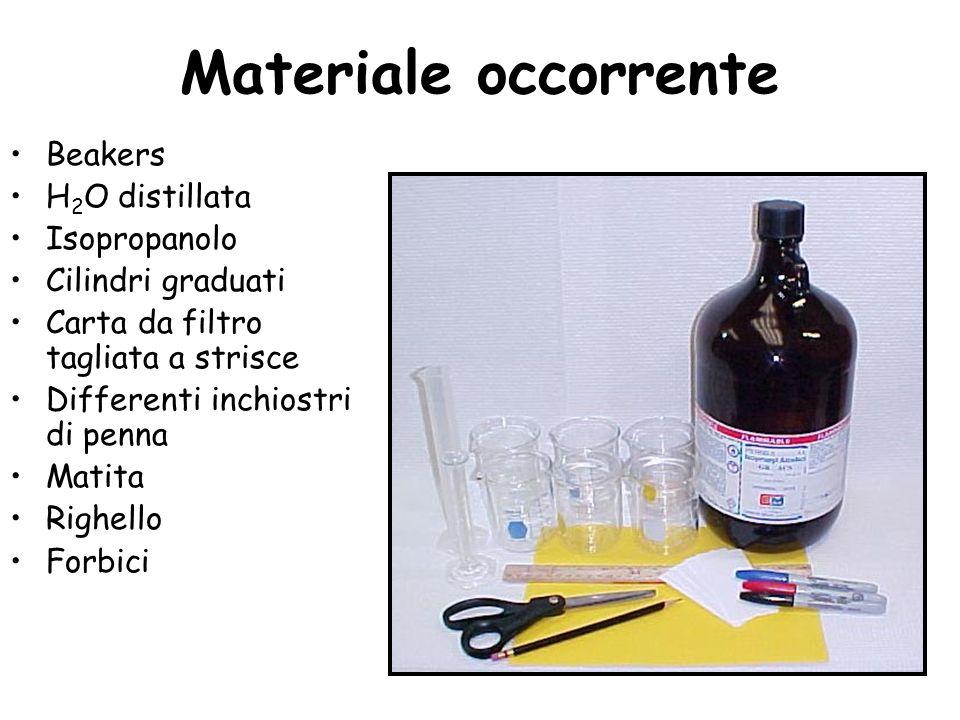 Beakers H 2 O distillata Isopropanolo Cilindri graduati Carta da filtro tagliata a strisce Differenti inchiostri di penna Matita Righello Forbici Mate