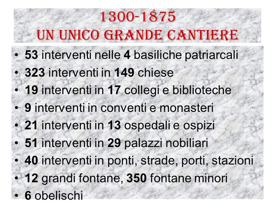 1300-1875 Un unico grande cantiere 53 interventi nelle 4 basiliche patriarcali 323 interventi in 149 chiese 19 interventi in 17 collegi e biblioteche
