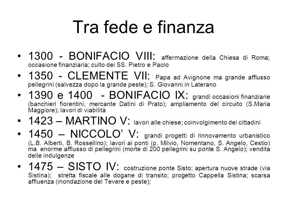 Tra fede e finanza 1300 - BONIFACIO VIII: affermazione della Chiesa di Roma; occasione finanziaria; culto dei SS. Pietro e Paolo 1350 - CLEMENTE VII: