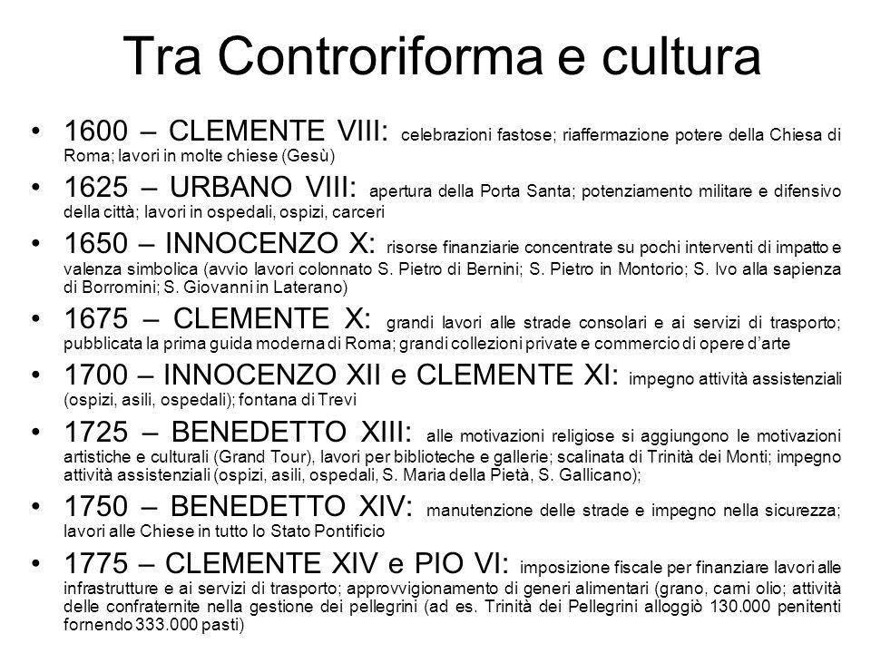Tra Controriforma e cultura 1600 – CLEMENTE VIII: celebrazioni fastose; riaffermazione potere della Chiesa di Roma; lavori in molte chiese (Gesù) 1625