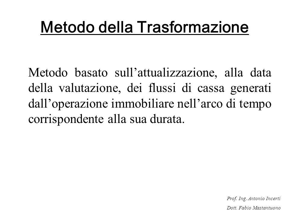 Prof. Ing. Antonio Incerti Dott. Fabio Mastantuono Metodo della Trasformazione Metodo basato sullattualizzazione, alla data della valutazione, dei flu