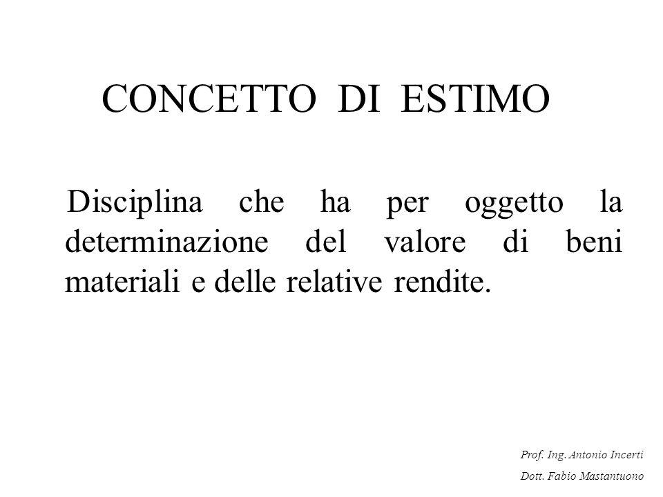 Prof. Ing. Antonio Incerti Dott. Fabio Mastantuono CONCETTO DI ESTIMO Disciplina che ha per oggetto la determinazione del valore di beni materiali e d