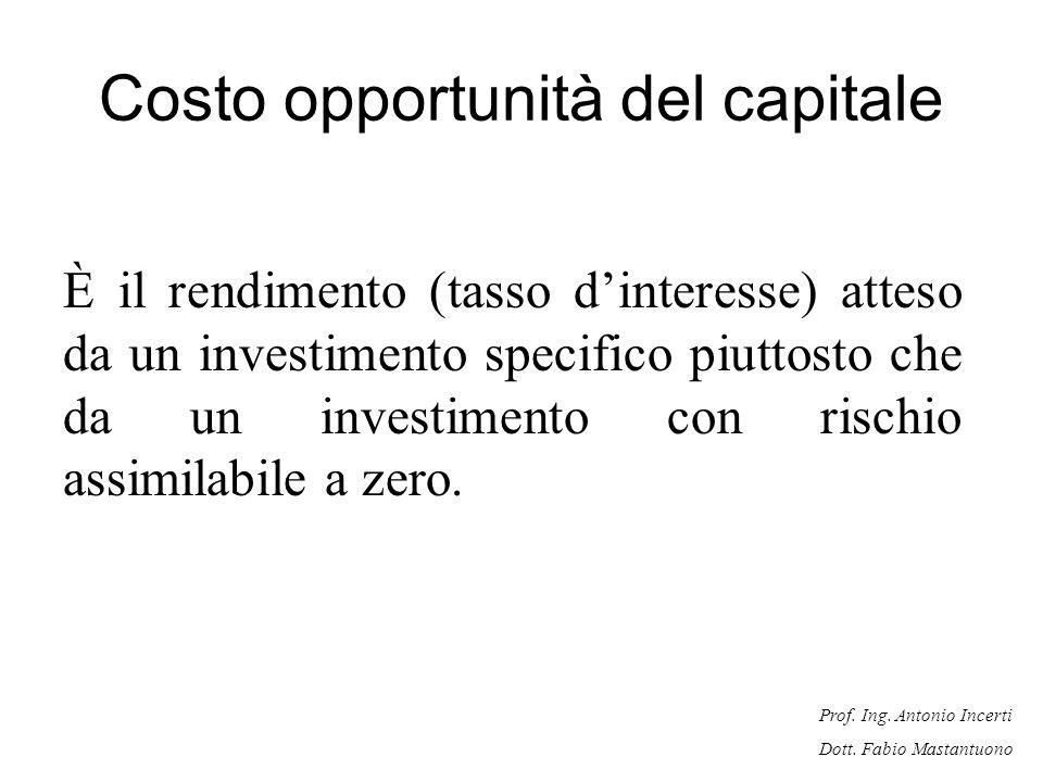 Prof. Ing. Antonio Incerti Dott. Fabio Mastantuono Costo opportunità del capitale È il rendimento (tasso dinteresse) atteso da un investimento specifi