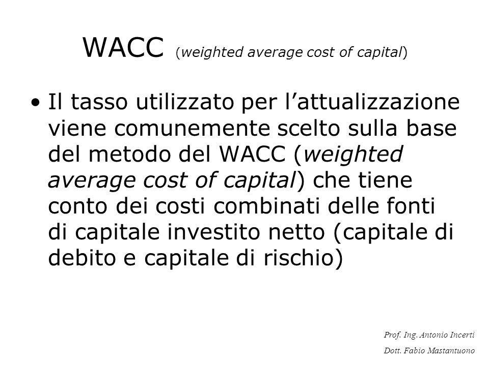 Prof. Ing. Antonio Incerti Dott. Fabio Mastantuono WACC ( weighted average cost of capital) Il tasso utilizzato per lattualizzazione viene comunemente