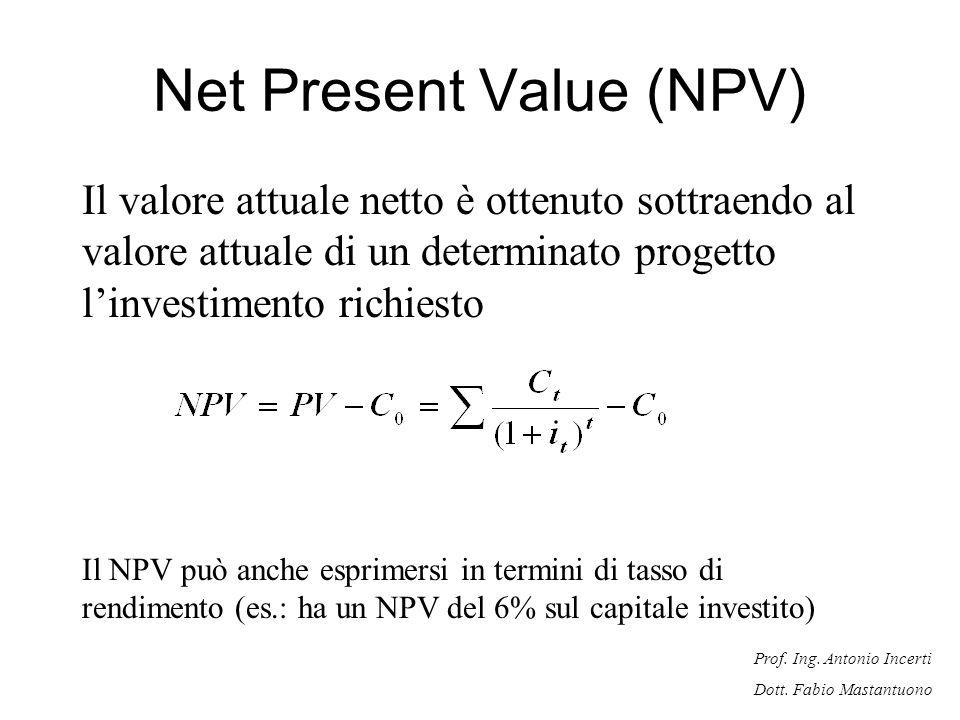 Prof. Ing. Antonio Incerti Dott. Fabio Mastantuono Net Present Value (NPV) Il valore attuale netto è ottenuto sottraendo al valore attuale di un deter