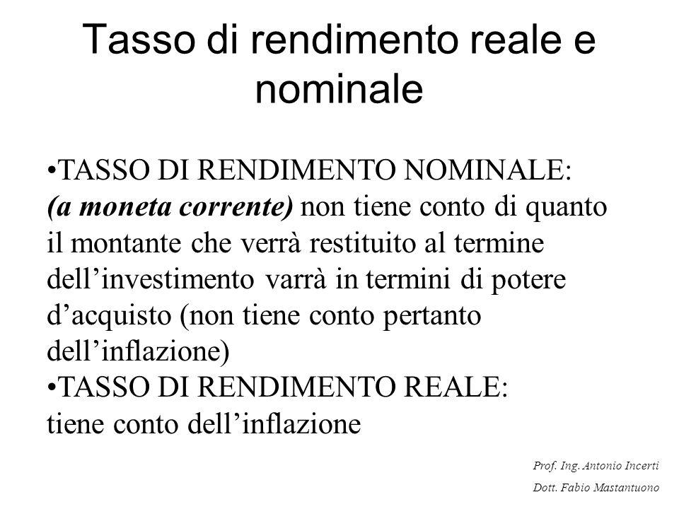 Prof. Ing. Antonio Incerti Dott. Fabio Mastantuono Tasso di rendimento reale e nominale TASSO DI RENDIMENTO NOMINALE: (a moneta corrente) non tiene co