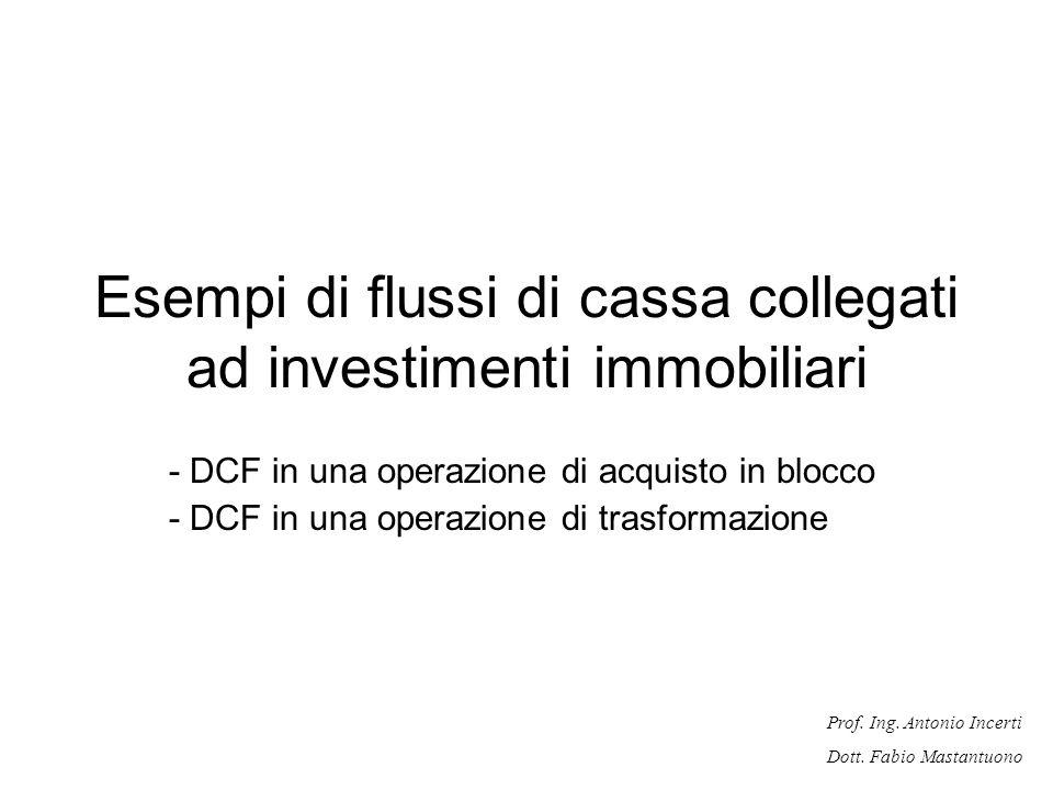 Prof. Ing. Antonio Incerti Dott. Fabio Mastantuono Esempi di flussi di cassa collegati ad investimenti immobiliari - DCF in una operazione di acquisto