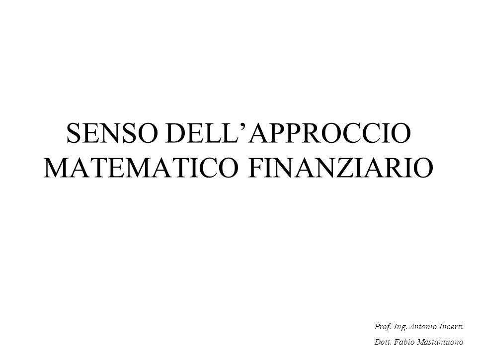 Prof. Ing. Antonio Incerti Dott. Fabio Mastantuono SENSO DELLAPPROCCIO MATEMATICO FINANZIARIO