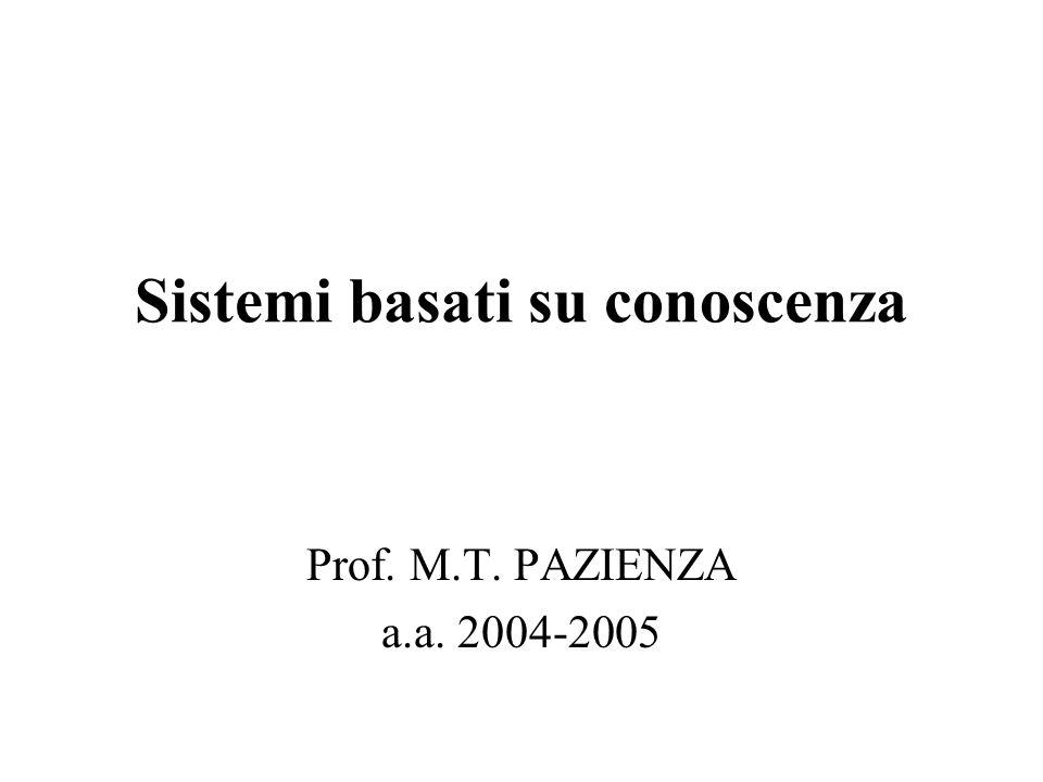 Sistemi basati su conoscenza Prof. M.T. PAZIENZA a.a. 2004-2005