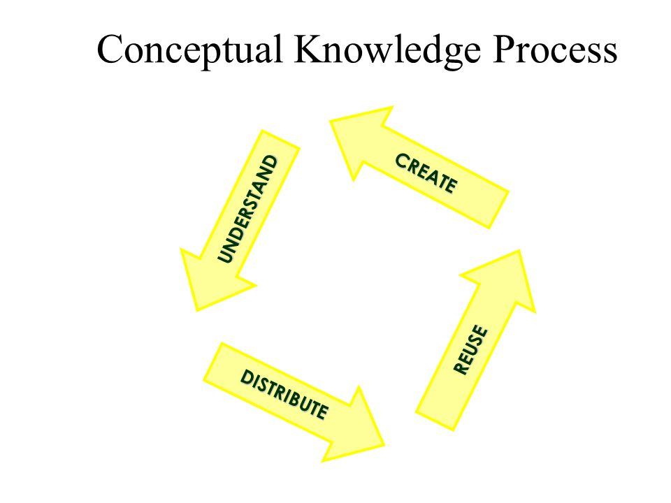 Conceptual Knowledge Process UNDERSTAND REUSE CREATE DISTRIBUTE