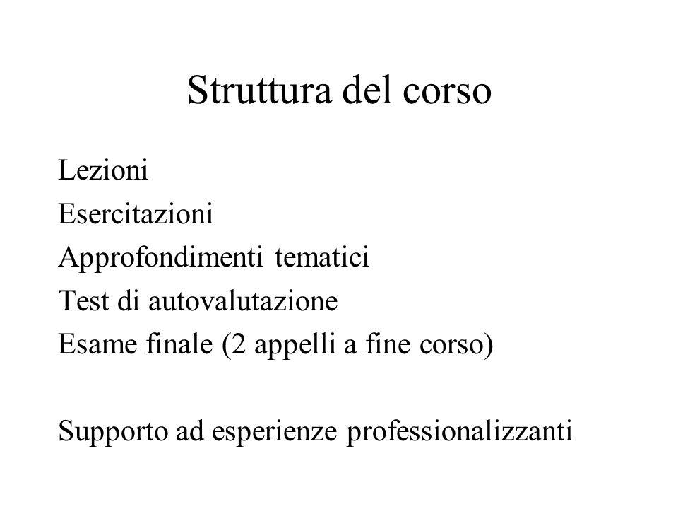 Struttura del corso Lezioni Esercitazioni Approfondimenti tematici Test di autovalutazione Esame finale (2 appelli a fine corso) Supporto ad esperienze professionalizzanti