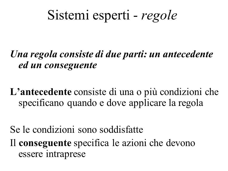 Sistemi esperti - regole Una regola consiste di due parti: un antecedente ed un conseguente Lantecedente consiste di una o più condizioni che specificano quando e dove applicare la regola Se le condizioni sono soddisfatte Il conseguente specifica le azioni che devono essere intraprese