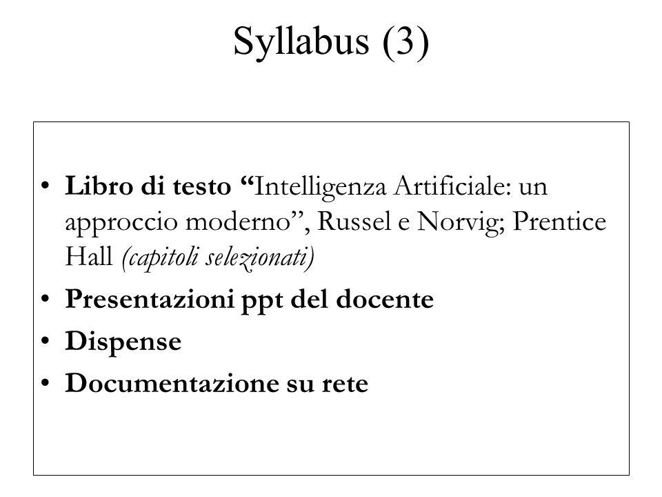 Syllabus (3) Libro di testo Intelligenza Artificiale: un approccio moderno, Russel e Norvig; Prentice Hall (capitoli selezionati) Presentazioni ppt del docente Dispense Documentazione su rete