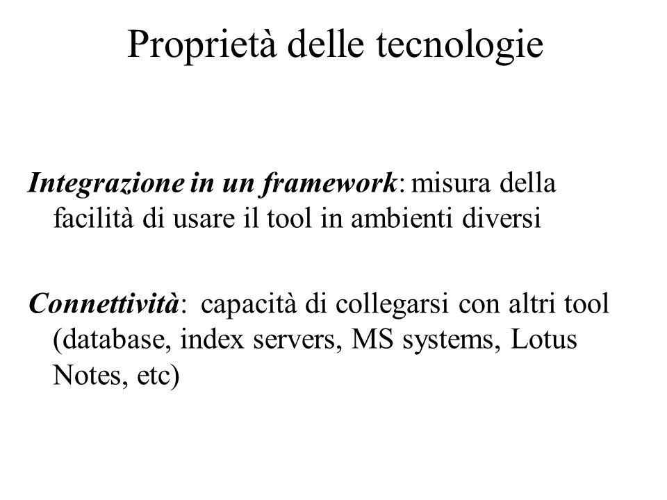 Proprietà delle tecnologie Integrazione in un framework: misura della facilità di usare il tool in ambienti diversi Connettività: capacità di collegar