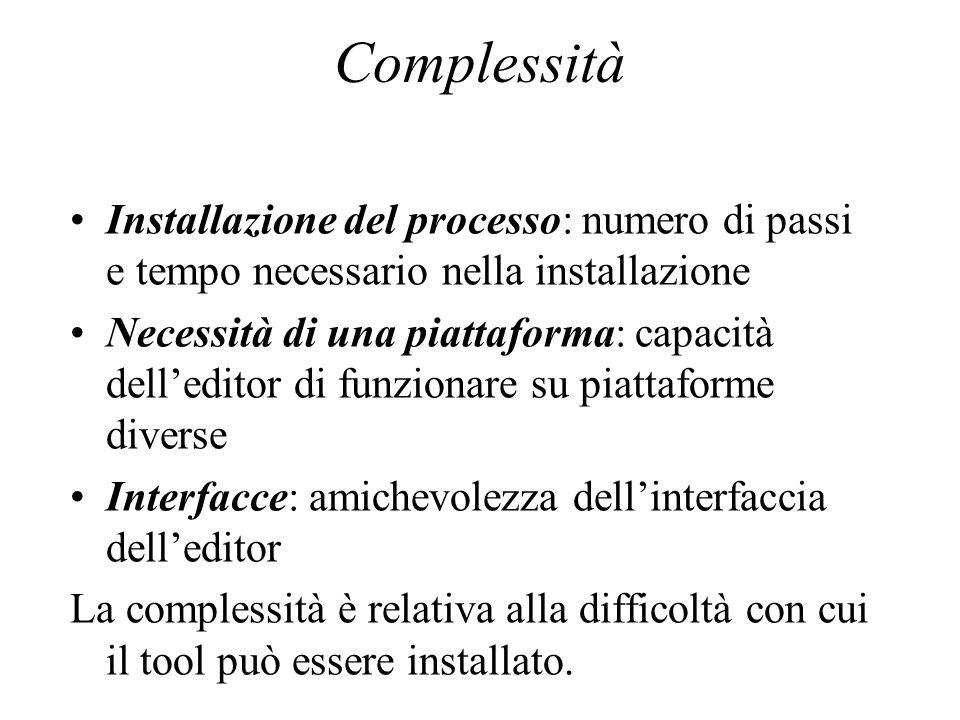 Complessità Installazione del processo: numero di passi e tempo necessario nella installazione Necessità di una piattaforma: capacità delleditor di fu