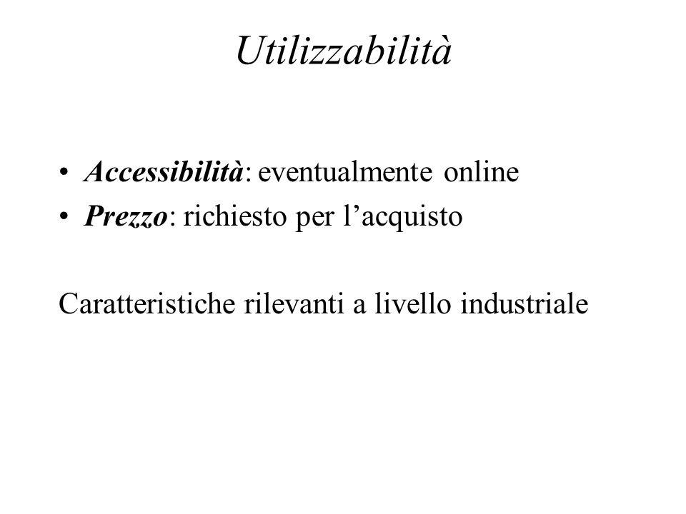 Utilizzabilità Accessibilità: eventualmente online Prezzo: richiesto per lacquisto Caratteristiche rilevanti a livello industriale