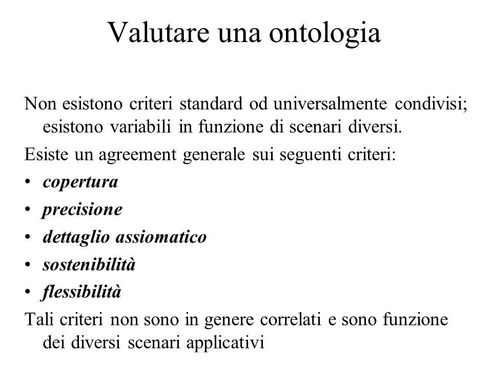 Valutare una ontologia Non esistono criteri standard od universalmente condivisi; esistono variabili in funzione di scenari diversi. Esiste un agreeme