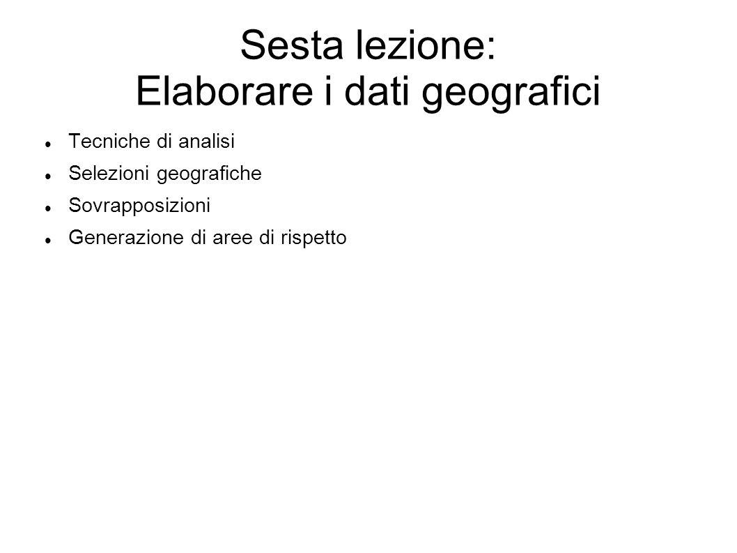 Sesta lezione: Elaborare i dati geografici Tecniche di analisi Selezioni geografiche Sovrapposizioni Generazione di aree di rispetto