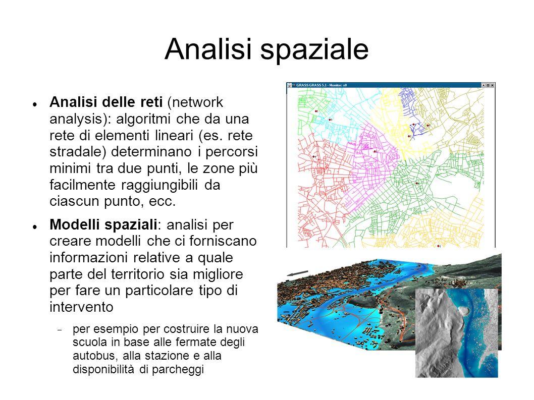 Analisi spaziale Analisi delle reti (network analysis): algoritmi che da una rete di elementi lineari (es. rete stradale) determinano i percorsi minim