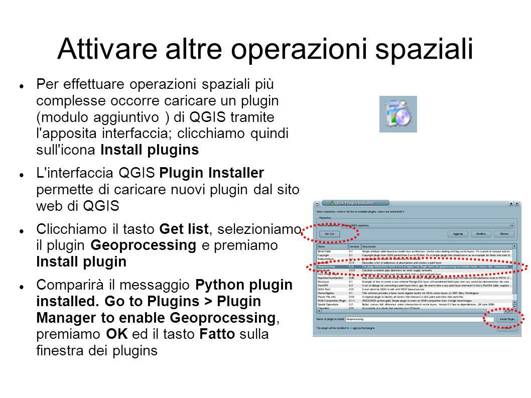 Attivare altre operazioni spaziali Per effettuare operazioni spaziali più complesse occorre caricare un plugin (modulo aggiuntivo ) di QGIS tramite l apposita interfaccia; clicchiamo quindi sull icona Install plugins L interfaccia QGIS Plugin Installer permette di caricare nuovi plugin dal sito web di QGIS Clicchiamo il tasto Get list, selezioniamo il plugin Geoprocessing e premiamo Install plugin Comparirà il messaggio Python plugin installed.
