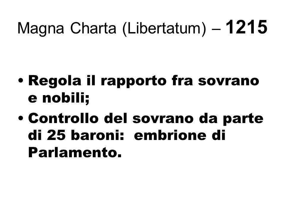 Magna Charta (Libertatum) – 1215 Regola il rapporto fra sovrano e nobili; Controllo del sovrano da parte di 25 baroni: embrione di Parlamento.