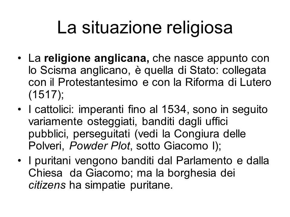 La situazione religiosa La religione anglicana, che nasce appunto con lo Scisma anglicano, è quella di Stato: collegata con il Protestantesimo e con l