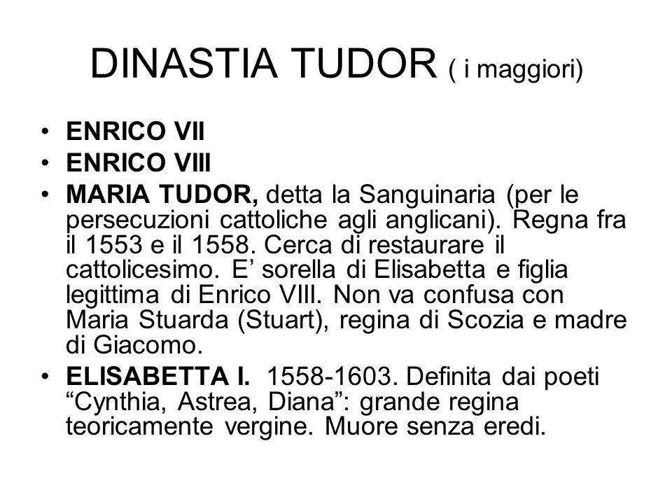 DINASTIA TUDOR ( i maggiori) ENRICO VII ENRICO VIII MARIA TUDOR, detta la Sanguinaria (per le persecuzioni cattoliche agli anglicani). Regna fra il 15