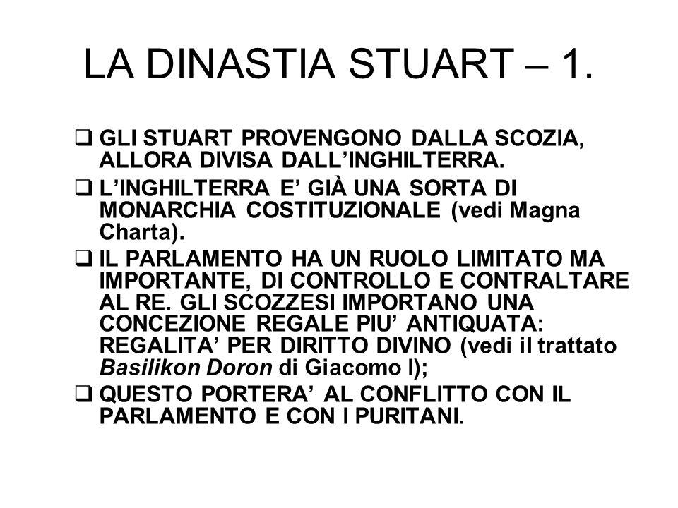 LA DINASTIA STUART – 2.GIACOMO I: 1603, 1625. Sovrano corrotto, nepotista.