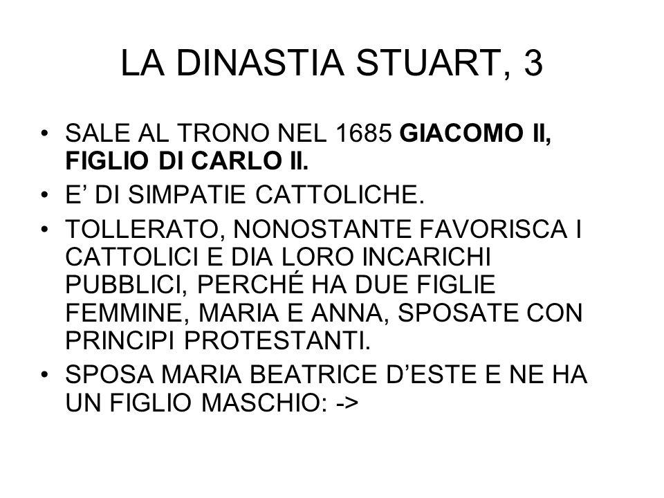 LA DINASTIA STUART, 3 SALE AL TRONO NEL 1685 GIACOMO II, FIGLIO DI CARLO II. E DI SIMPATIE CATTOLICHE. TOLLERATO, NONOSTANTE FAVORISCA I CATTOLICI E D