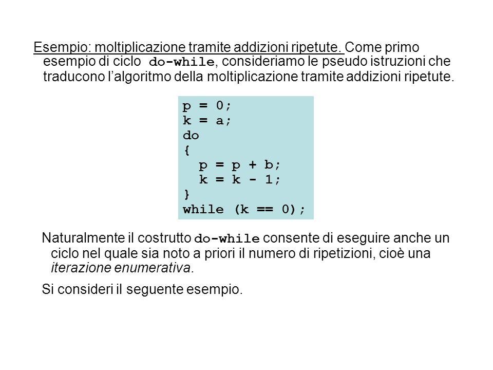 p = 0; k = a; do { p = p + b; k = k - 1; } while (k == 0); Naturalmente il costrutto do-while consente di eseguire anche un ciclo nel quale sia noto a