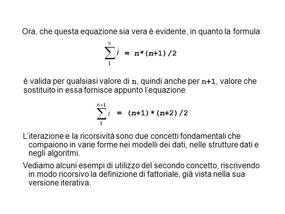Ora, che questa equazione sia vera è evidente, in quanto la formula = n*(n+1)/2 è valida per qualsiasi valore di n, quindi anche per n+1, valore che s