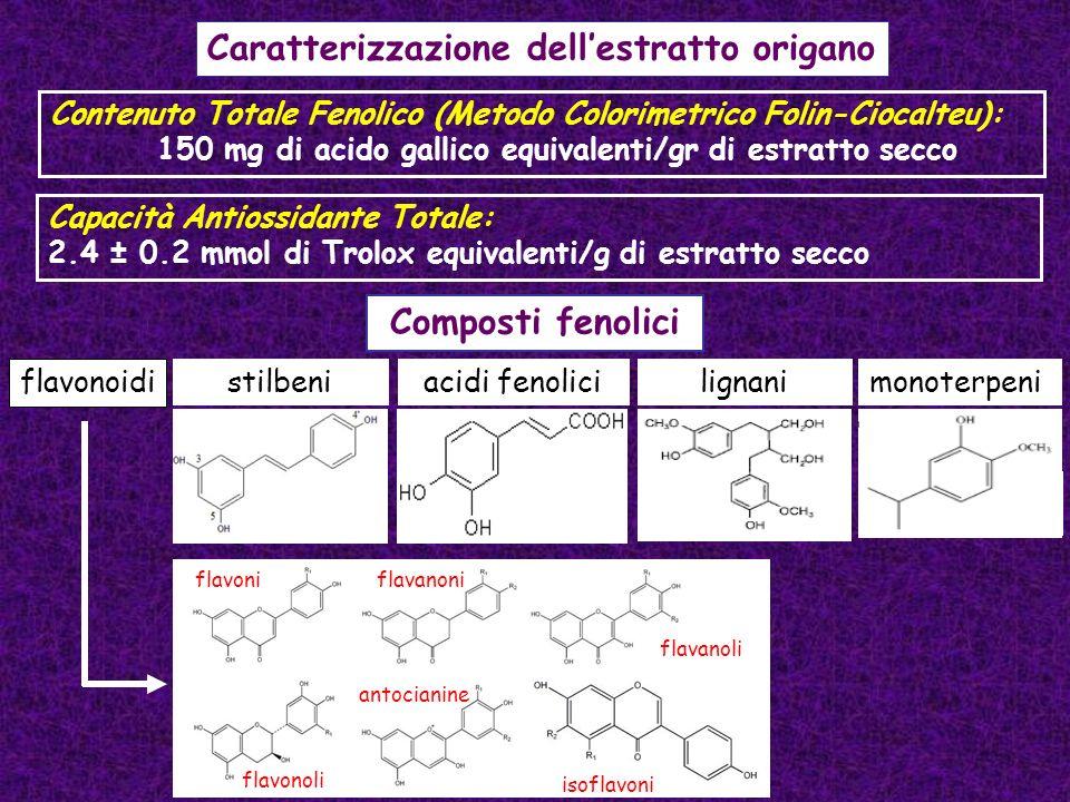 Capacità Antiossidante Totale: 2.4 ± 0.2 mmol di Trolox equivalenti/g di estratto secco Caratterizzazione dellestratto origano Contenuto Totale Fenoli