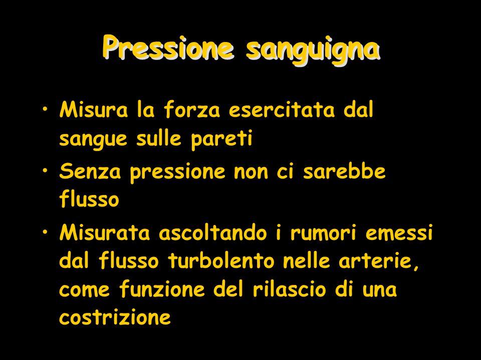 Pressione sanguigna Misura la forza esercitata dal sangue sulle pareti Senza pressione non ci sarebbe flusso Misurata ascoltando i rumori emessi dal f