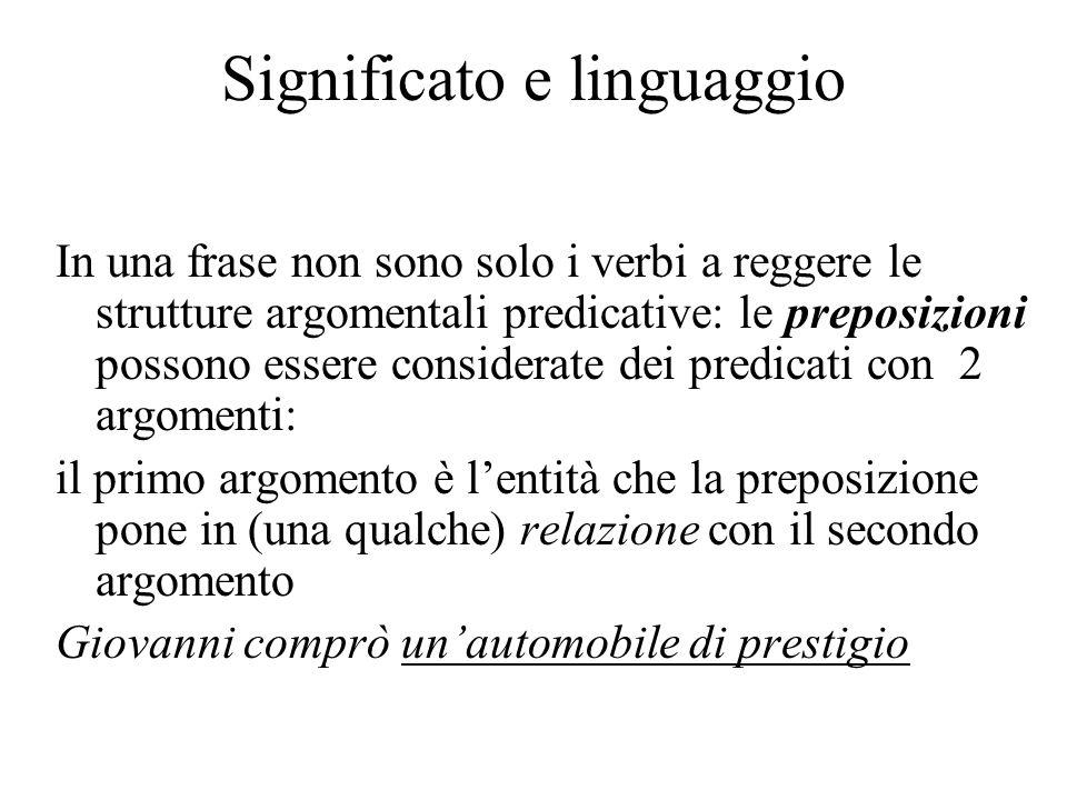 Significato e linguaggio In una frase non sono solo i verbi a reggere le strutture argomentali predicative: le preposizioni possono essere considerate