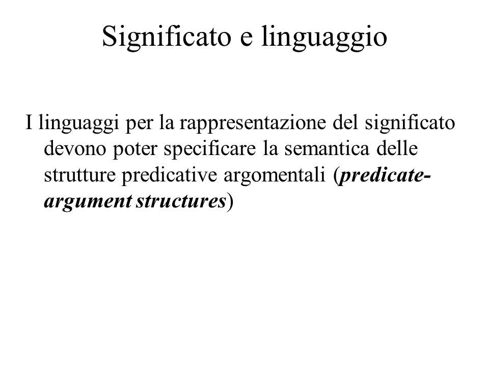 Significato e linguaggio I linguaggi per la rappresentazione del significato devono poter specificare la semantica delle strutture predicative argomentali (predicate- argument structures)