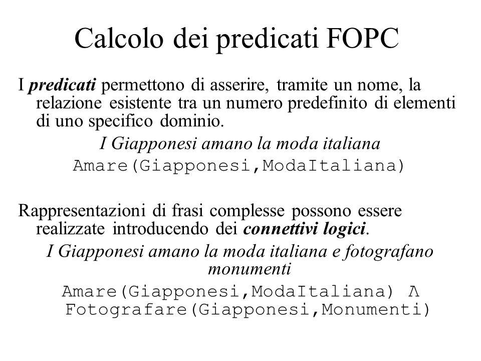 Calcolo dei predicati FOPC I predicati permettono di asserire, tramite un nome, la relazione esistente tra un numero predefinito di elementi di uno specifico dominio.