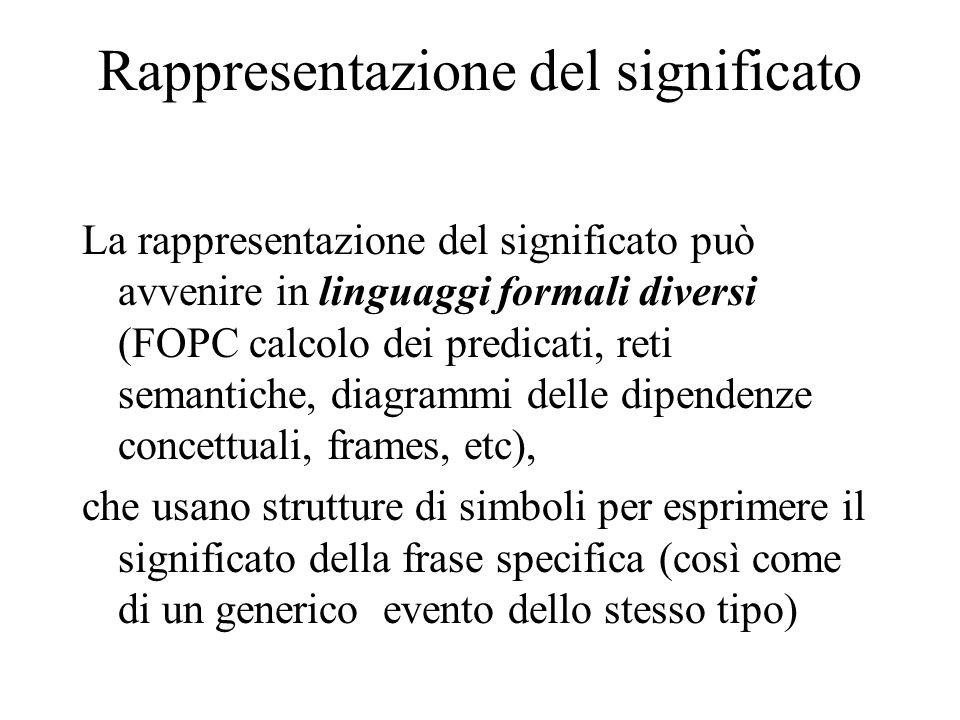 Rappresentazione del significato La rappresentazione del significato può avvenire in linguaggi formali diversi (FOPC calcolo dei predicati, reti seman