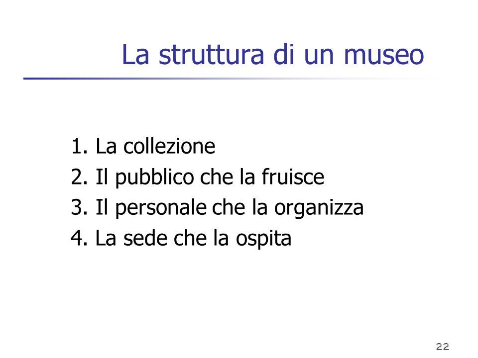 22 La struttura di un museo 1. La collezione 2. Il pubblico che la fruisce 3. Il personale che la organizza 4. La sede che la ospita