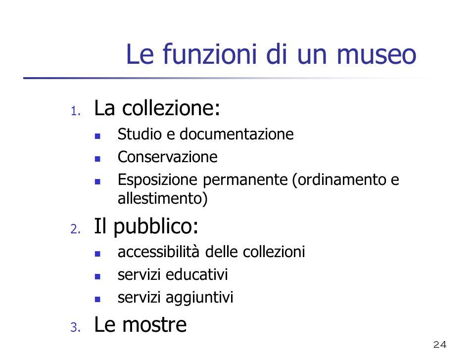 24 Le funzioni di un museo 1. La collezione: Studio e documentazione Conservazione Esposizione permanente (ordinamento e allestimento) 2. Il pubblico: