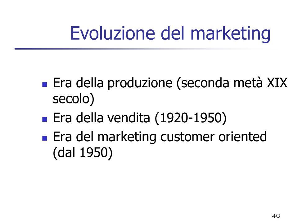 40 Evoluzione del marketing Era della produzione (seconda metà XIX secolo) Era della vendita (1920-1950) Era del marketing customer oriented (dal 1950