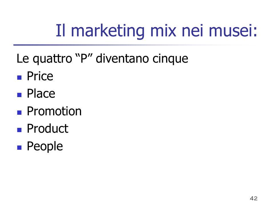 42 Il marketing mix nei musei: Le quattro P diventano cinque Price Place Promotion Product People