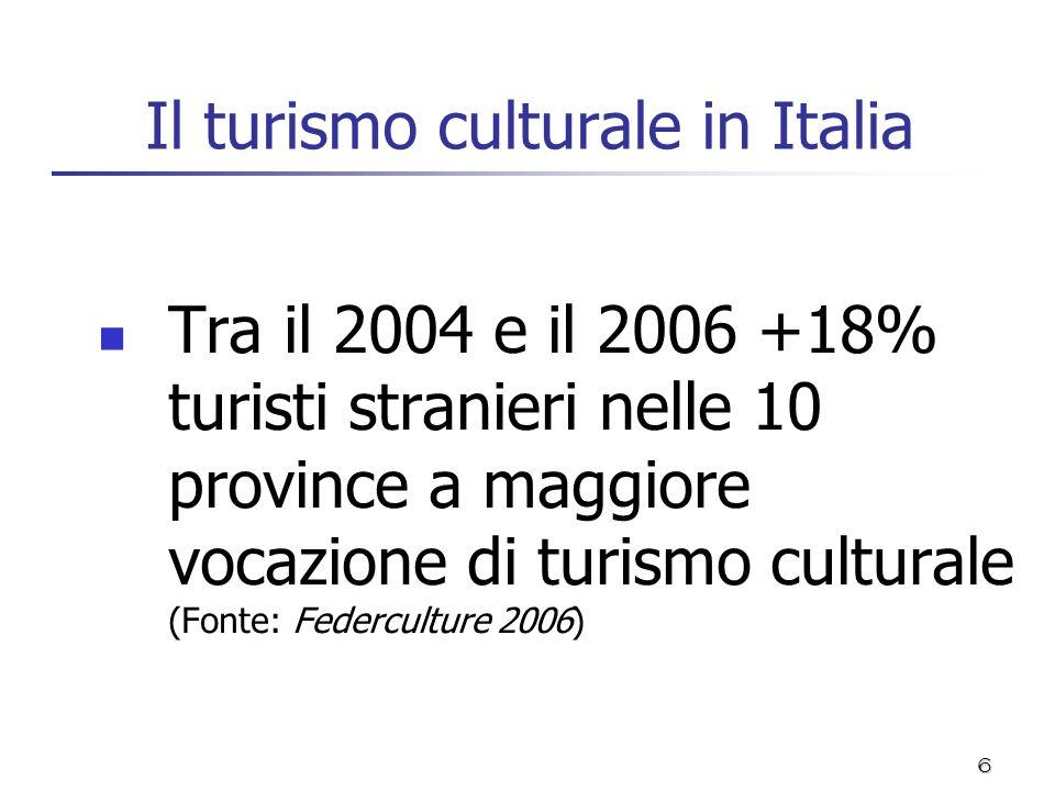 6 Il turismo culturale in Italia Tra il 2004 e il 2006 +18% turisti stranieri nelle 10 province a maggiore vocazione di turismo culturale (Fonte: Fede