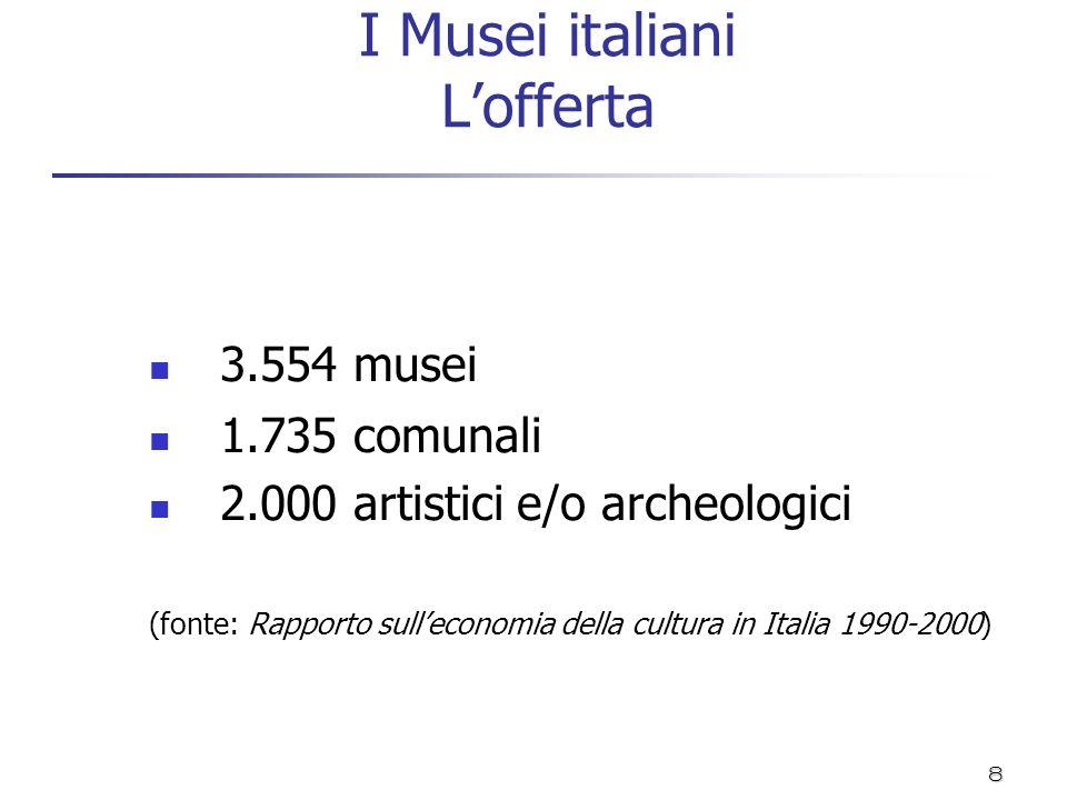 8 I Musei italiani Lofferta 3.554 musei 1.735 comunali 2.000 artistici e/o archeologici (fonte: Rapporto sulleconomia della cultura in Italia 1990-200