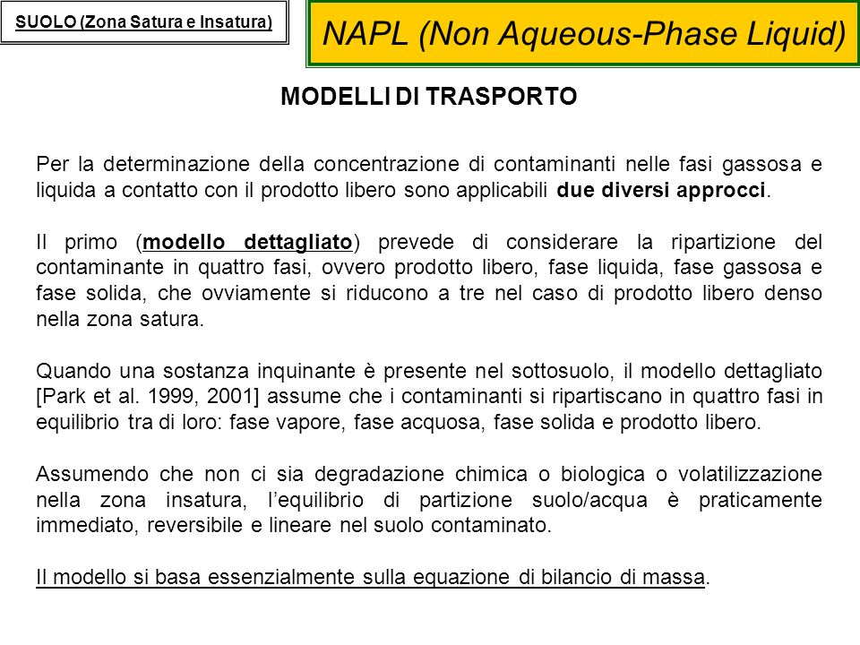 NAPL (Non Aqueous-Phase Liquid) SUOLO (Zona Satura e Insatura) MODELLI DI TRASPORTO Per la determinazione della concentrazione di contaminanti nelle f