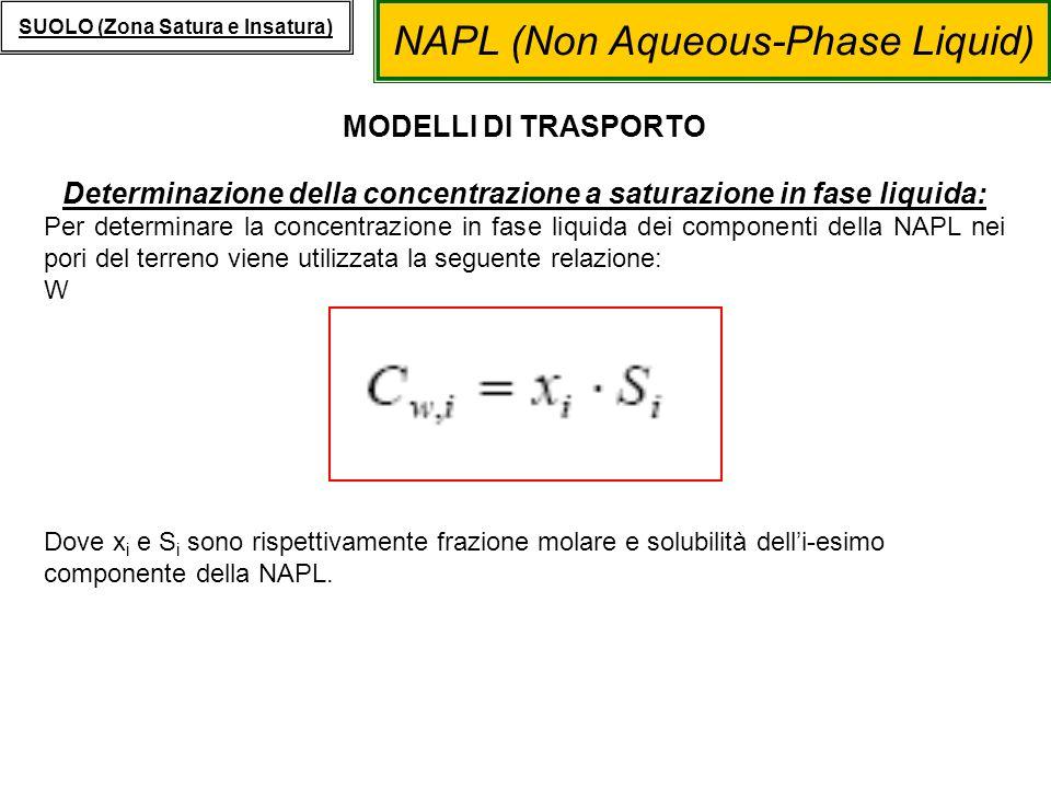 NAPL (Non Aqueous-Phase Liquid) SUOLO (Zona Satura e Insatura) MODELLI DI TRASPORTO Determinazione della concentrazione a saturazione in fase liquida: