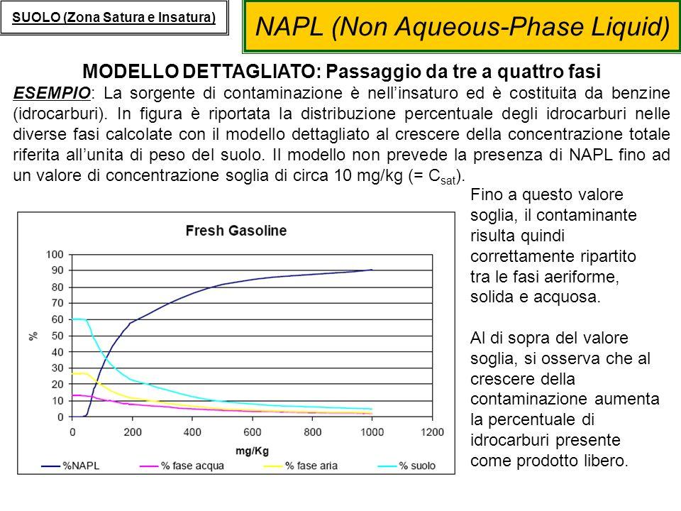 NAPL (Non Aqueous-Phase Liquid) SUOLO (Zona Satura e Insatura) MODELLO DETTAGLIATO: Passaggio da tre a quattro fasi ESEMPIO: La sorgente di contaminaz