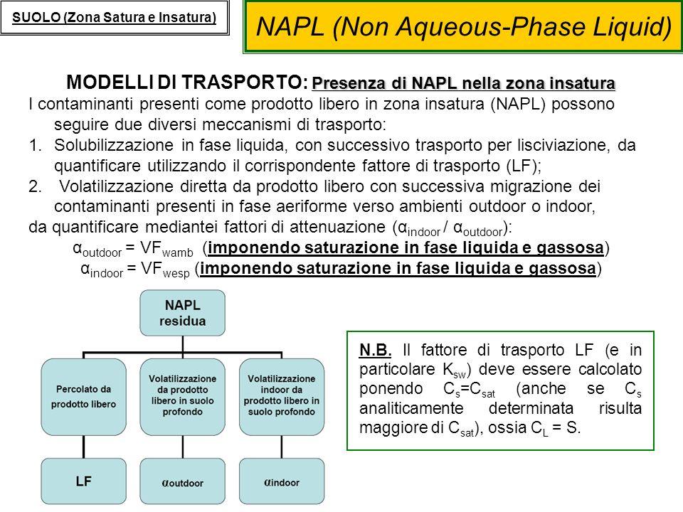 NAPL (Non Aqueous-Phase Liquid) SUOLO (Zona Satura e Insatura) Presenza di NAPL nella zona insatura MODELLI DI TRASPORTO: Presenza di NAPL nella zona