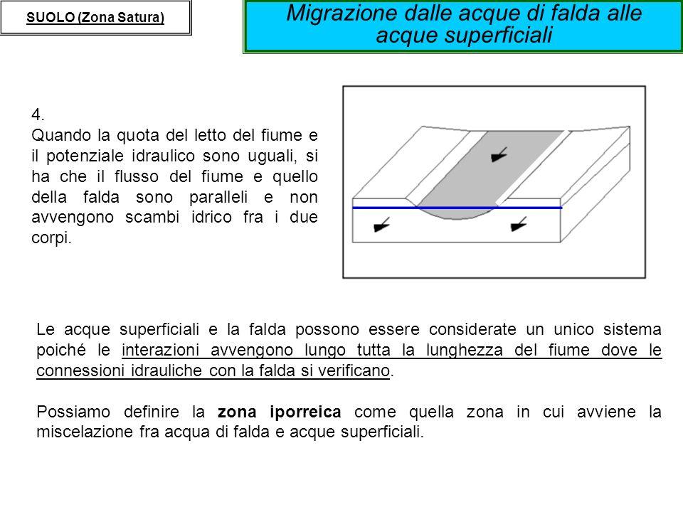 Migrazione dalle acque di falda alle acque superficiali SUOLO (Zona Satura) 4. Quando la quota del letto del fiume e il potenziale idraulico sono ugua
